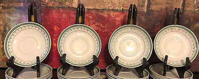 4 Vintage ARABIA of Finland Green Thistle Coffe Tea Cup Saucer Plates 1960