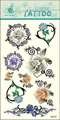 Sexy Colorful Rose Heart Flower Removable Temporary Tattoo Sticker GF293](Colorful Flower Tattoos)