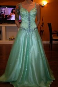 teal grad gown