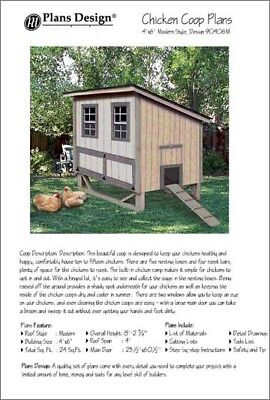4x6 Chicken Coop Hen House Plans Modern Roof Style Material List Included