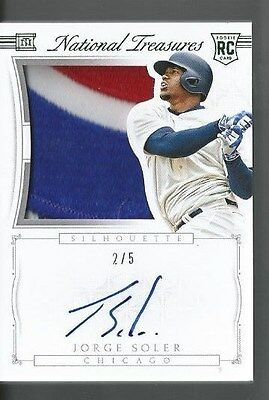 2015 National Treasures Jorge Soler Auto Rookie Patch Relic #d /5 Chicago Cubs