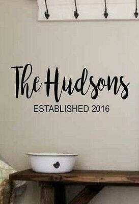 (PERSONALIZED FAMILY NAME EST Vinyl Wall Art Decal Sticker Decor Lettering Rustic)