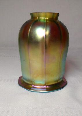 """GOLD FAVRILE, AURENE, ART GLASS SQUASH BLOSSOM LIGHTING SHADE, 2 1/4"""" FITTER~~"""