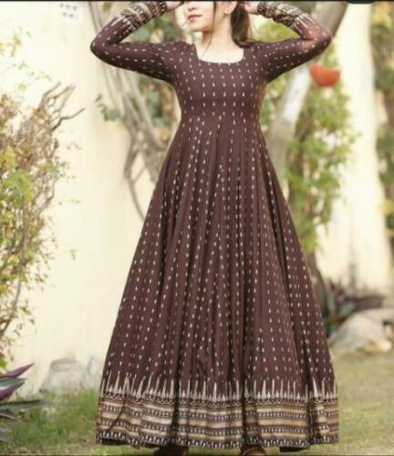 Women Indian Ethic Flared Kurta Bollywood Long Designer Gown Kurti Top Tunic Set