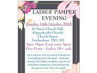 Sunday 14th October - Ladies' Pamper Evening - Twickenham, Middlesex.