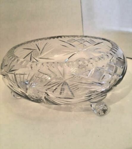 ANTIQUE Hand Cut lead Crystal Bowl Footed / 12 inch  ROUND / VINTAGE