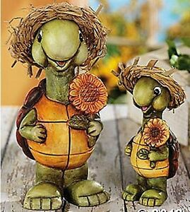 Lot-of-2-cute-turtles-with-hats-and-sunflowers-garden-pation-lawn-yard-statues