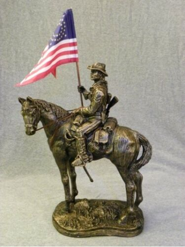 BUFFALO SOLDIER ON HORSE WITH CUSTOM SWALLOW TAIL FLAG 1866