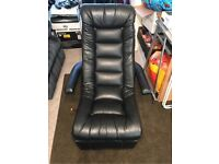 Leather rocker chair with extendable footrest