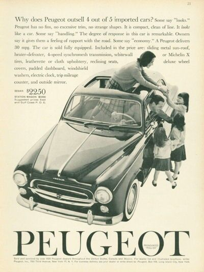 1961 Peugeot 403 Coupe with Family PRINT AD