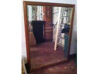 Very Large Bevelled Edge Mirror Good Condition Complete with Hanging Chain