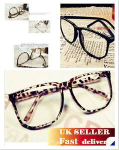Vintage-Retro-Style-Oversized-Square-Nerd-Geek-Glasses-Frame-Clear-Lens-3-colors