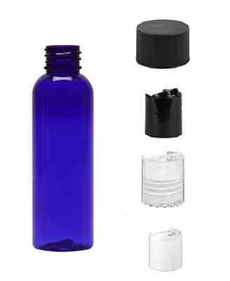 2 oz BLUE Bullet Plastic Bottle -PET- 12 bottles with BLACK