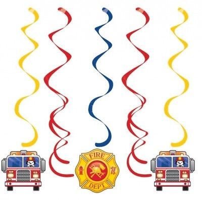 Flaming Fire Truck Hanging Dangler Decorations 5 Per Pack 30