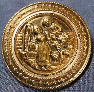 """Antique Girl at the Well Boy on Brick Wall Roses Brass Picture Button 1 11/16"""""""