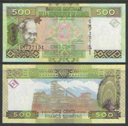 GUINEA 500 Francs Currency Cat # P39 UNC Cat $3.50
