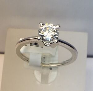 Certified and Inscribed White Gold Solitaire Engagement Ring