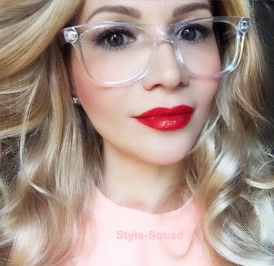 Classic Square Crystal Translucent Frames Clear Lens WaYfe Big Eyeglasses 8068 (Square Eyeglass Frames)