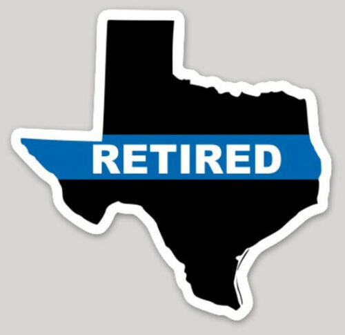 4 Inch Non-Reflective State Of Texas Thin Blue Line Retired Logo Sticker Decal