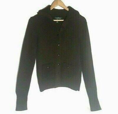 Ralph Lauren Knit Sweater Elbow Patches Sz M Forrest Green Brown Buttons