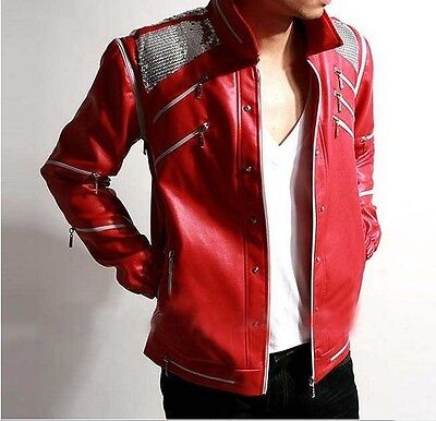Michael Jackson Beat it Leather Red Jacket Cost MJ Costumes + Free Gift - Mj Costume