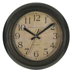 Baldauf Clock Company Bronze Brushed Oil Rub 12 Round Wall Clock, Modern Rustic