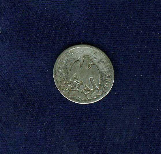 MEXICO EMPIRE OF MAXIMILIAN 1864-Mo 10 CENTAVOS SILVER COIN, CIRCULATED, GOOD/VG