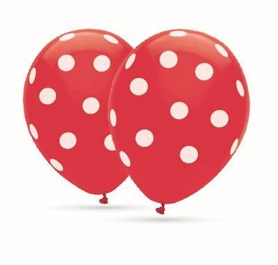 8 Ballons Polka Dots Rot Ballons mit weißen Punkten 30cm Durchm. heliumgeeignet ()