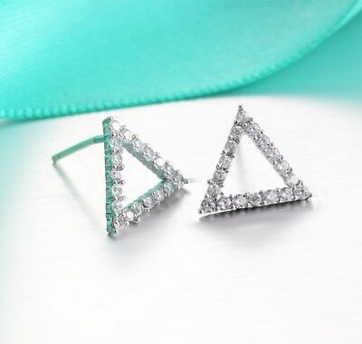 10mm Rhodium Plated Sterling Silver Triangle cubic zirconia CZ Stud Earrings K51
