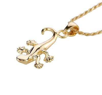 Plated Gecko - YELLOW GOLD PLATED STERLING SILVER 925 HIGH POLISH SHINY HAWAIIAN GECKO PENDANT