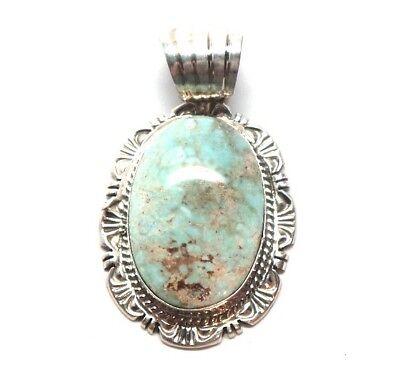 Navajo Handmade Sterling Silver Dry Creek Turquoise Pendant-Robert Shakey