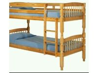 Pine bunk bed with free fitting and mattress