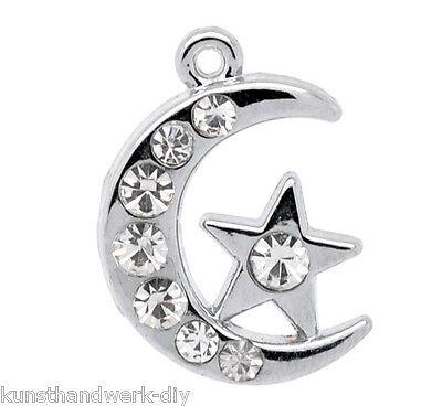 Großhandel Silber Strass Mond&Stern Charm Anhänger Perlen für Halskette Armband