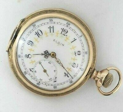 Ultra Vintage EIGIN Yellow Gold Pocket Watch Running Full Hunter Swiss Pocket
