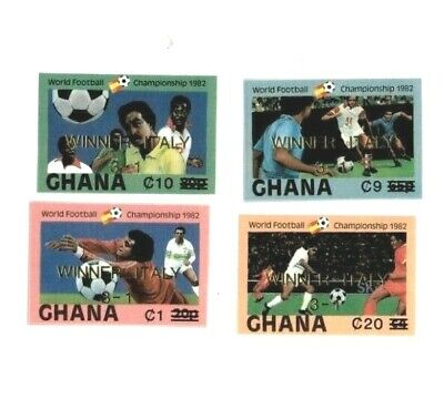 Ghana 1984 SC# 862, 865, 869, 873 World Cup Soccer - Imperf Set Surcharged OVPT MNH