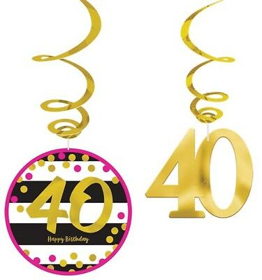 HOT PINK AND GOLD 40th BIRTHDAY HANGING SWIRL DECORATIONS (12) ~ Party Supplies - Pink And Gold Birthday Party Supplies