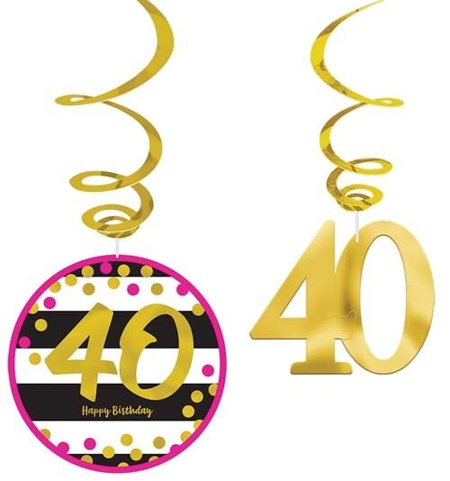 HOT PINK AND GOLD 40th BIRTHDAY HANGING SWIRL DECORATIONS  ~