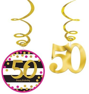 HOT PINK AND GOLD 50th BIRTHDAY HANGING SWIRL DECORATIONS (12) ~ Party - Hot Pink Party Decorations