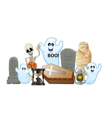 SPOOKY HALLOWEEN - YARD SIGN SET - BRAND NEW OUTDOOR PLASTIC DECORATION 2634 - Make Outdoor Halloween Decorations