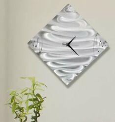 STUNNING SILVER ART CLOCK Metal Wall Clock Art Abstract Modern Decor Jon Allen