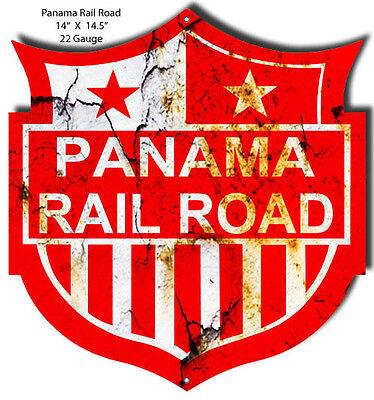 Distressed Panama Railroad Laser Cut Out 14x14.5