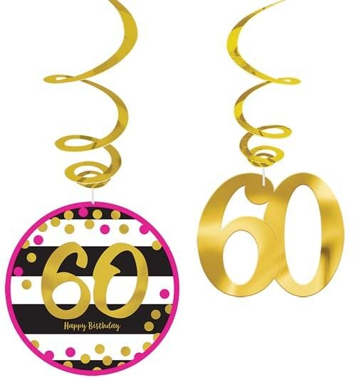 HOT PINK AND GOLD 60th BIRTHDAY HANGING SWIRL DECORATIONS  ~