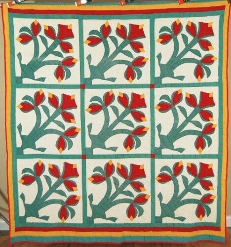 RARE Vintage Amaryllis Red, Green & Cheddar Applique Antique Quilt ~VIBRANT!