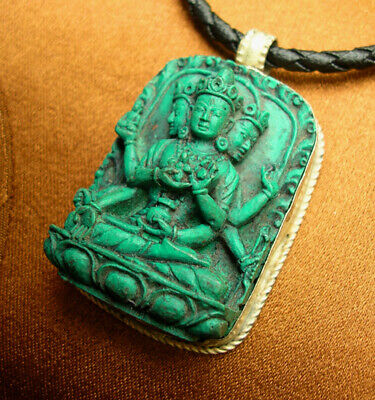 Beautiful Buddha Amulet White Tara as Usnisavijaya Turquoise Nepal