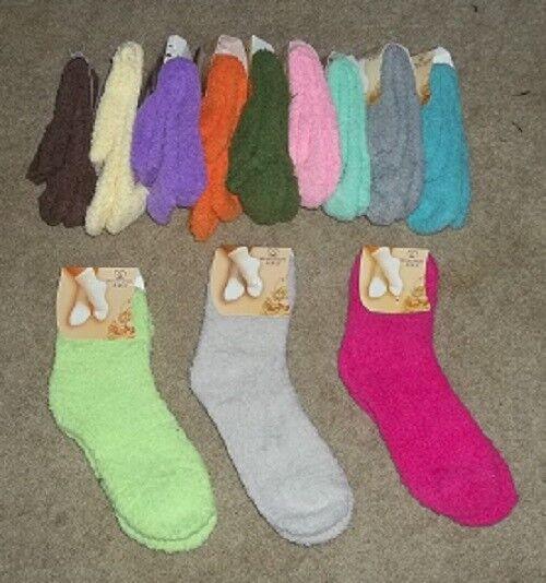 NEW Women's Super Soft Fuzzy Slipper Socks sz 9-11 12 Colors