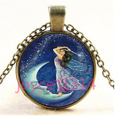 Fairy on the moon Cabochon bronze Glass Chain Pendant Necklace TS-3372 - The Moon Fairy