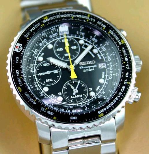 SEIKO SNA411P1 Flight Alarm Chronograph Pilot's FlightMaster