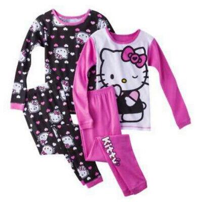 NWT Hello Kitty Girls Long Sleeve Pajamas 2 Pair Size 6](Hello Kitty Girls Pajamas)