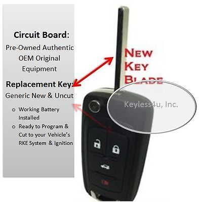 Chevy flip key uncut blade keyless entry remote control beeper fhob OHT01060512
