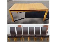 Ikea Extending Bjursta Oak Table & 6 Brown High Back Faux Leather Chairs FREE DELIVERY 345